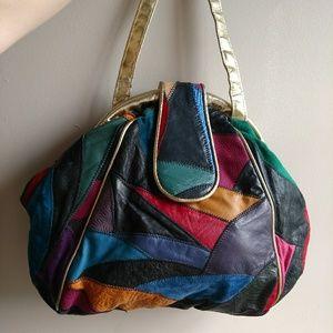Vintage 1980s Patchwork Leather Frame Bag